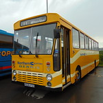 Northern Scottish liveried Alexander bodied Dennis Lancet A506FSS ND6E at Stoke-on-Trent Britannia Stadium on the Potteries Omnibus Preservation Society running day.
